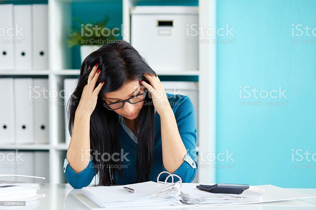 Business woman under stress stock photo