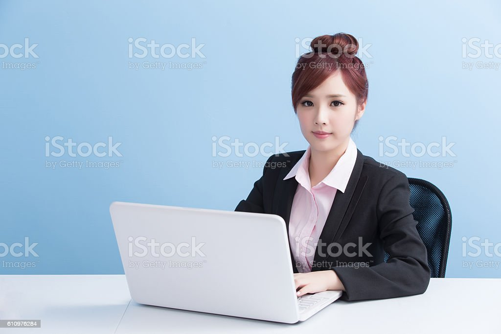 business woman use computer stock photo
