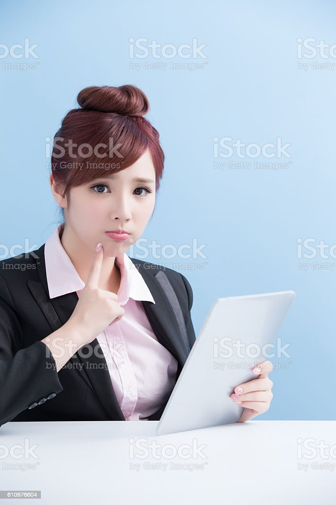 business woman use tablet stock photo