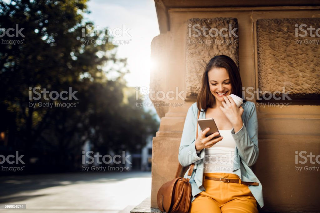 Business woman using a phone stock photo