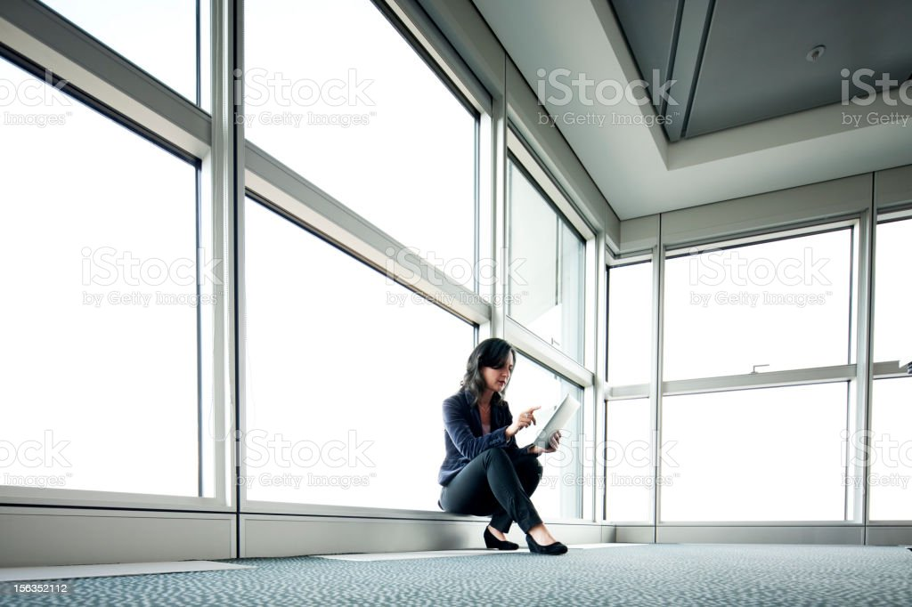 Business woman using tablet stock photo