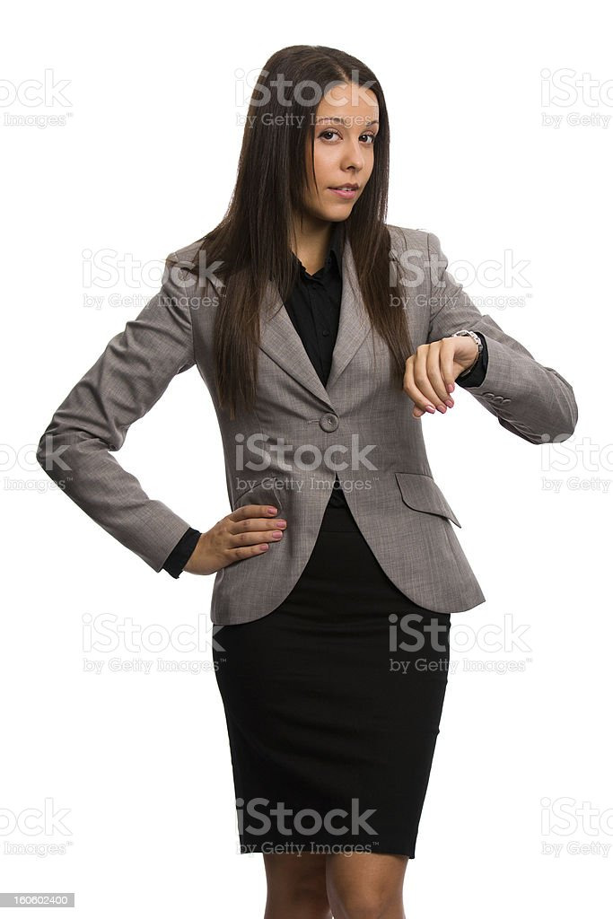 Business woman waiting and not happy about someone being late royalty-free stock photo