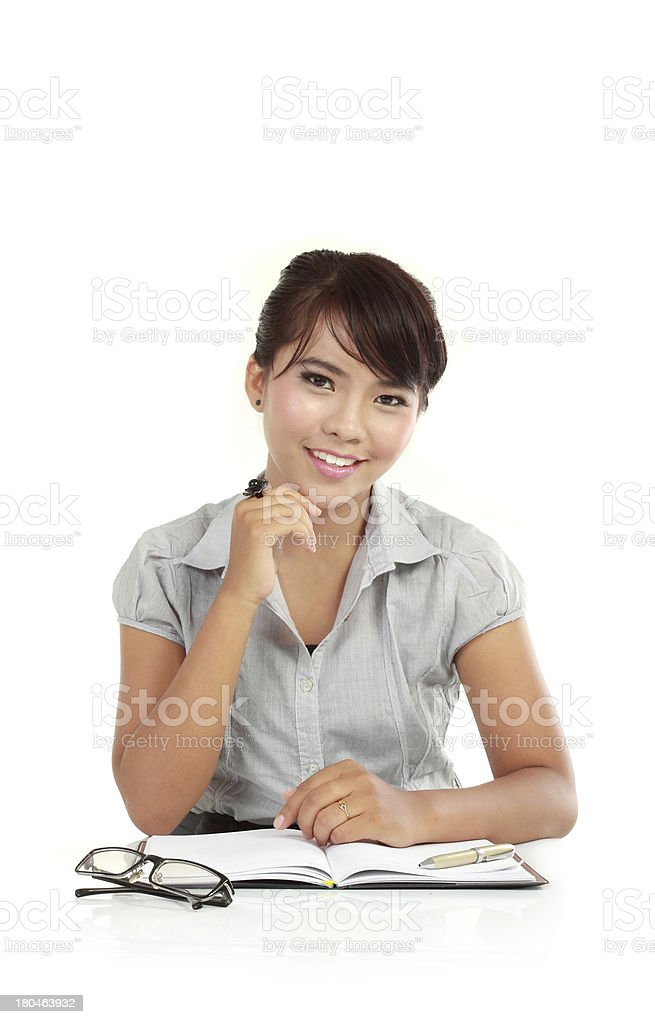business woman waiting for client royalty-free stock photo