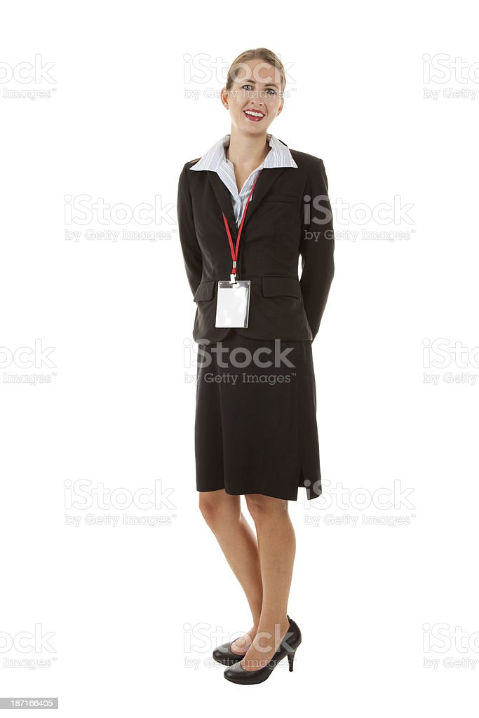 Business Woman Wearing Blank Badge Holder stock photo