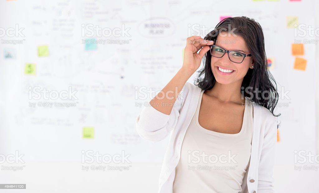 Business woman wearing glasses stock photo