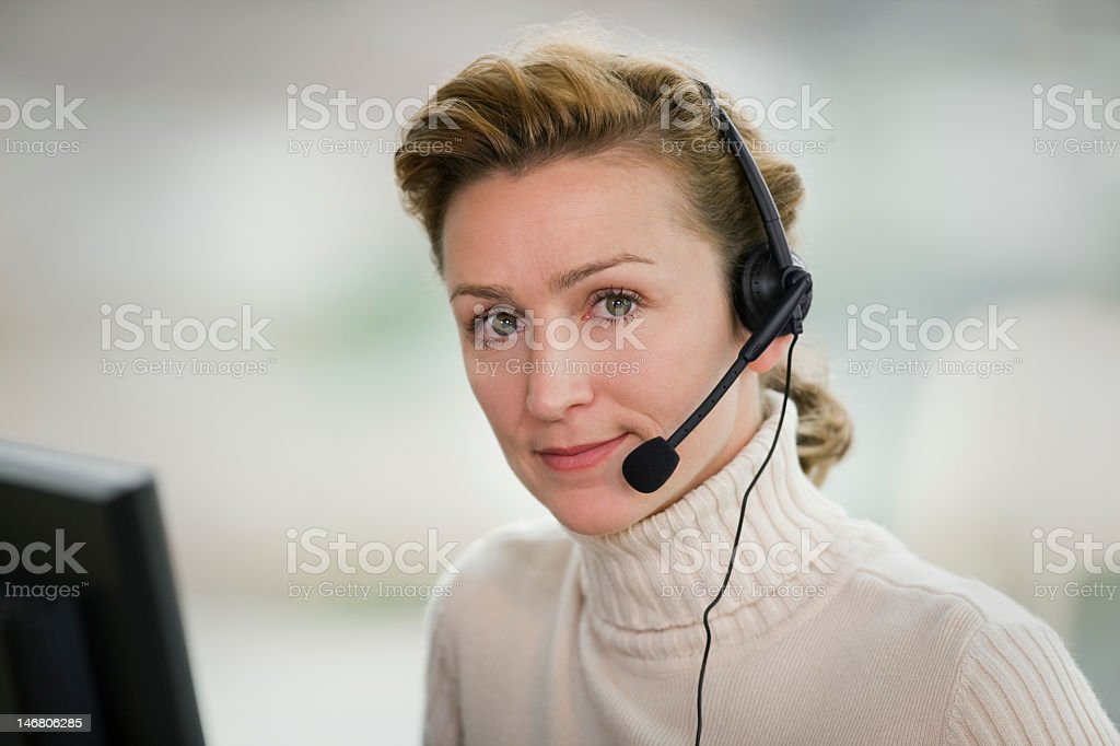 Business Woman Wearing Headset royalty-free stock photo
