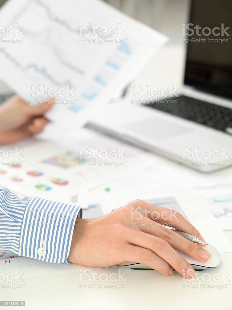 Business woman who checks meeting materials stock photo