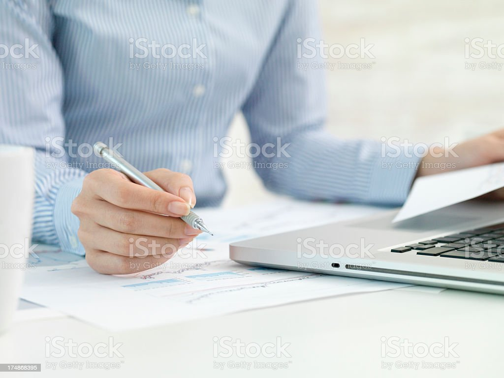 Business woman who works overtime royalty-free stock photo