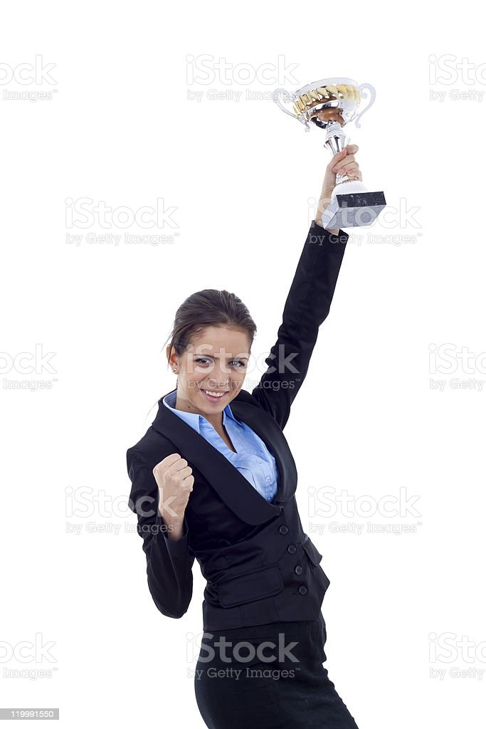 business woman winning a trophy royalty-free stock photo