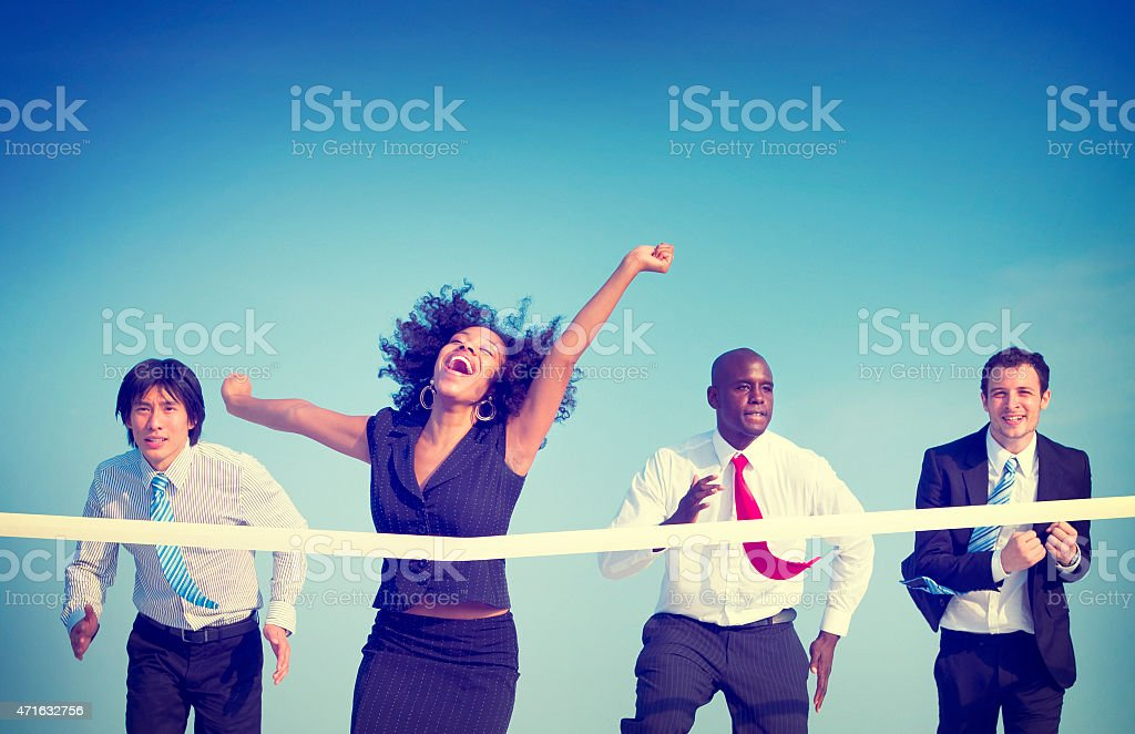 Business Woman Winning Race Concept stock photo