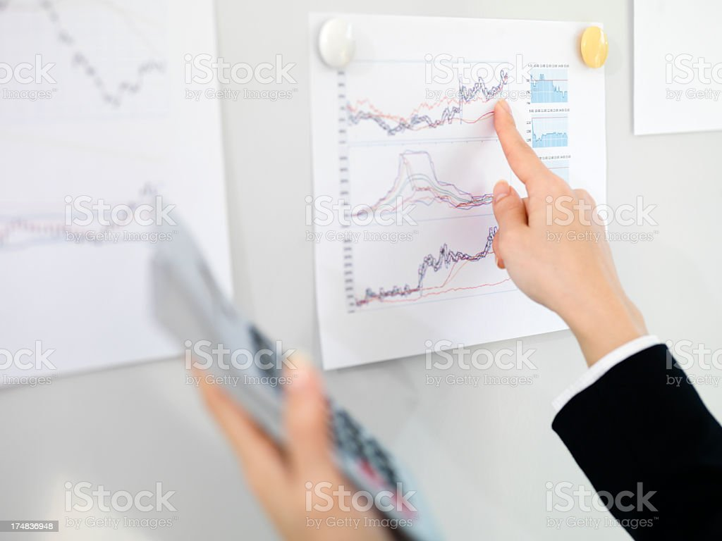 Business woman with a calculator and statistical graphs. royalty-free stock photo