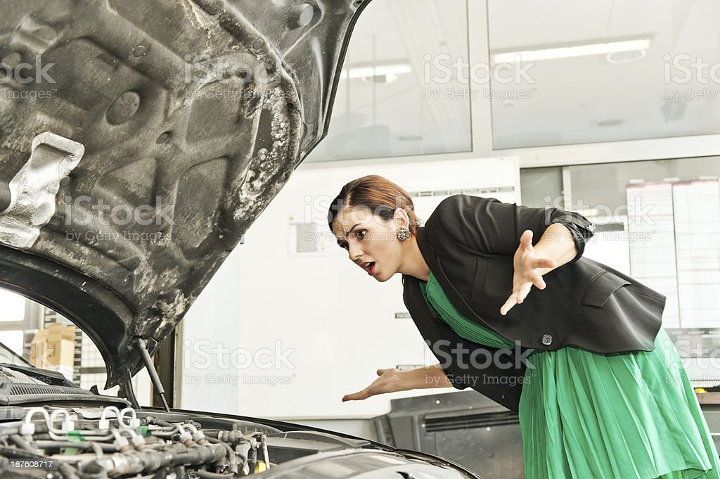 Business woman with a car breakdown stock photo