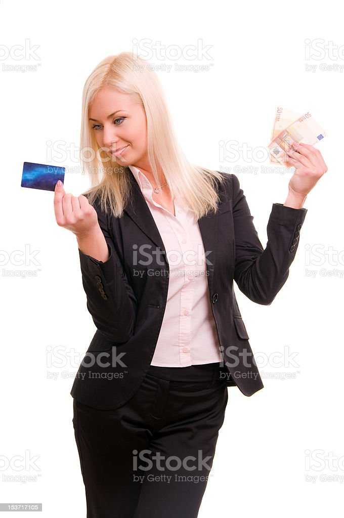 Business woman with a credit card and cash royalty-free stock photo
