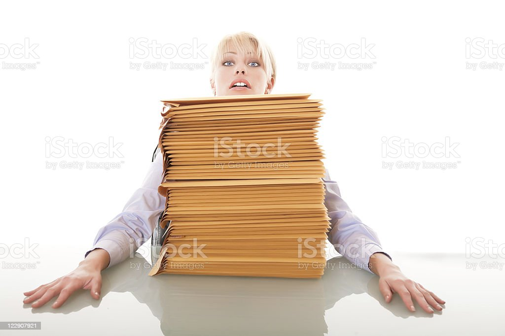 Business woman with a stack of envelops royalty-free stock photo