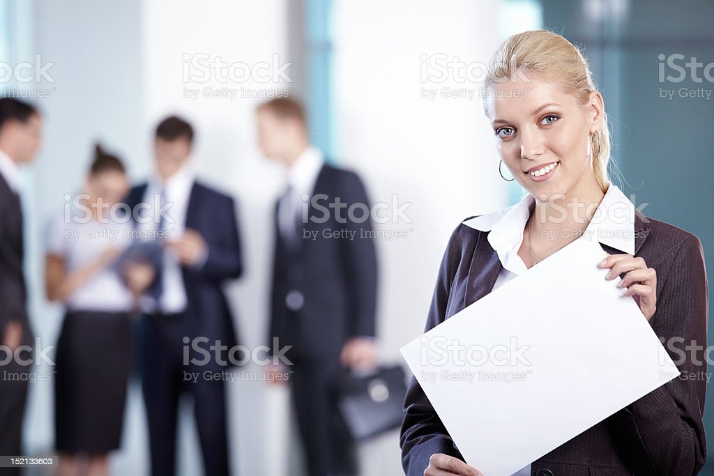 Business woman with a white plate royalty-free stock photo