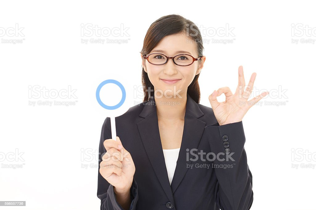 Business woman with a Yes sign stock photo