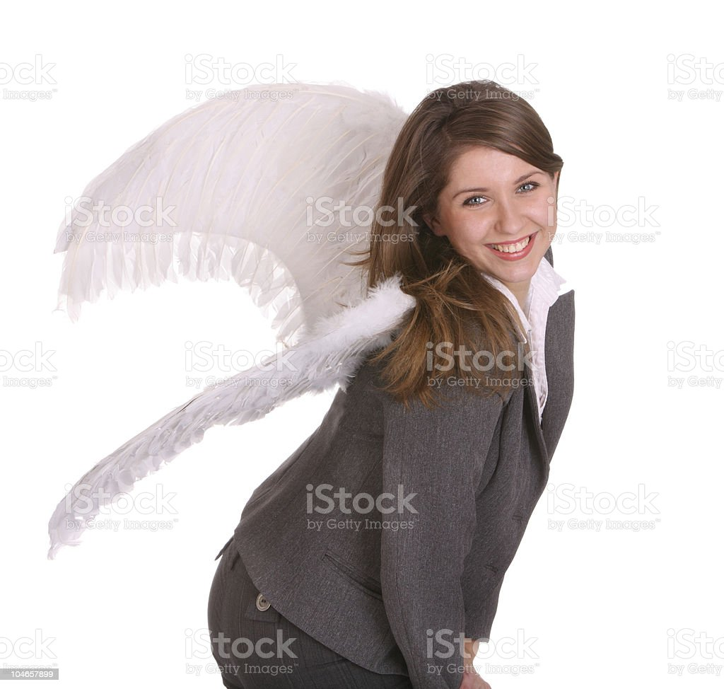 Business woman with angel wing. royalty-free stock photo