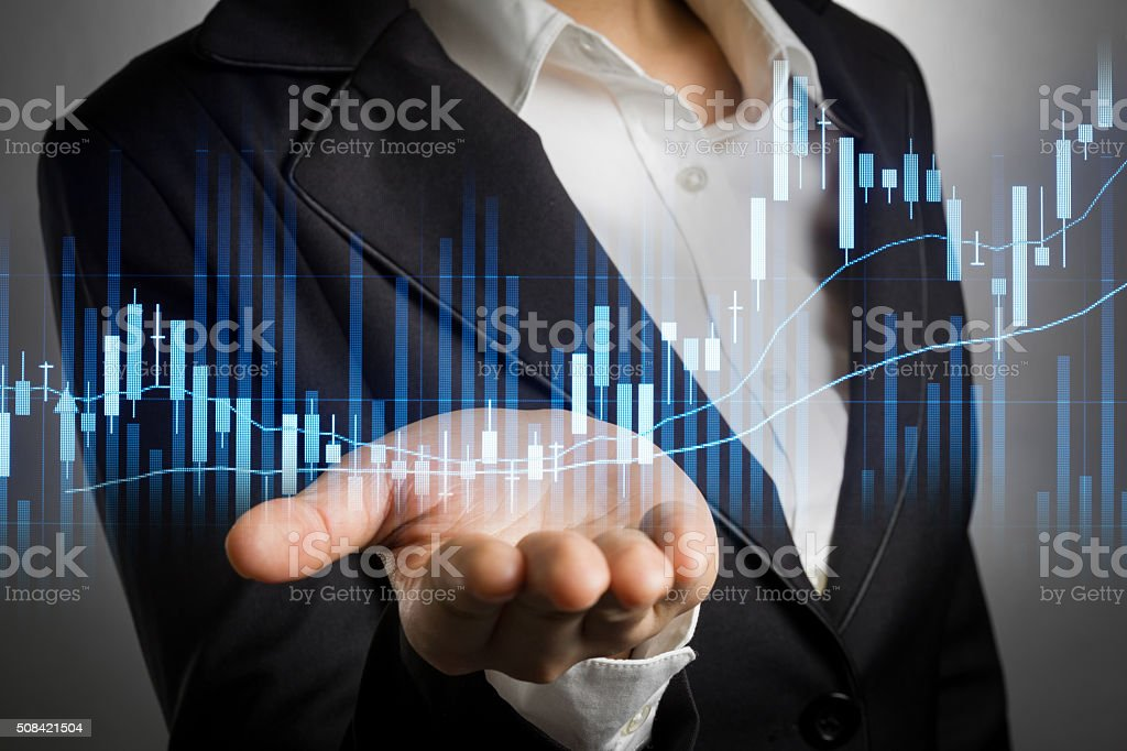 business woman with bear hand for show stock graph. stock photo