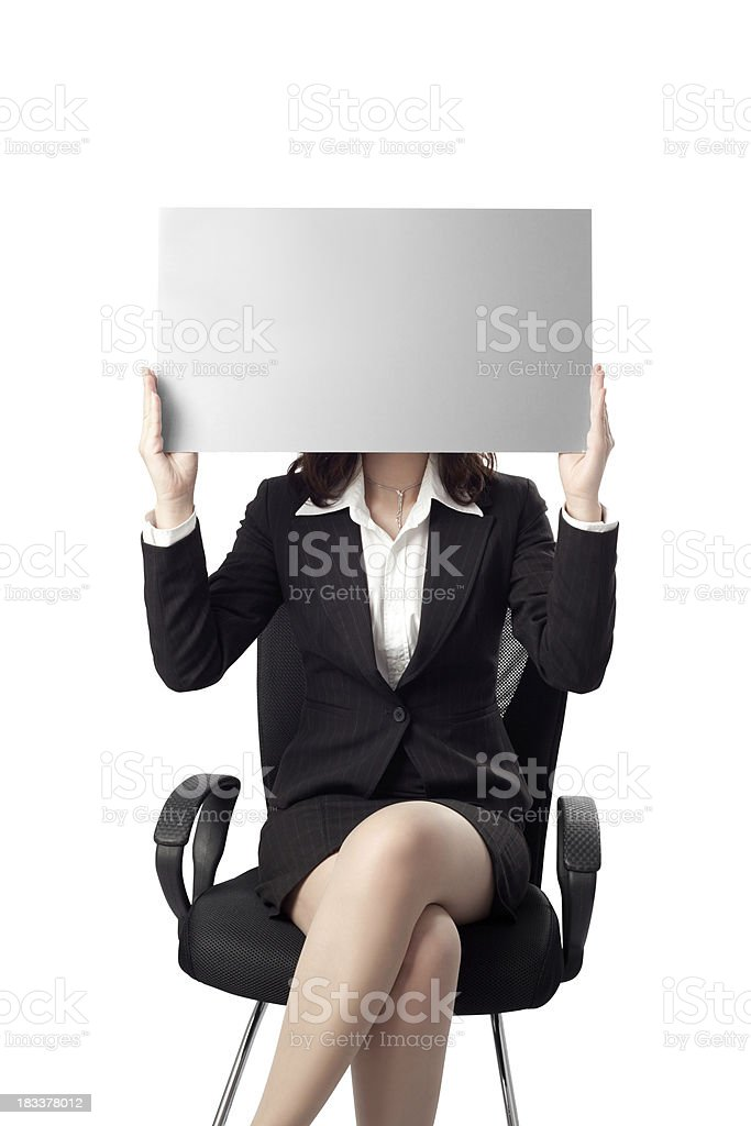 Business woman with billboard stock photo