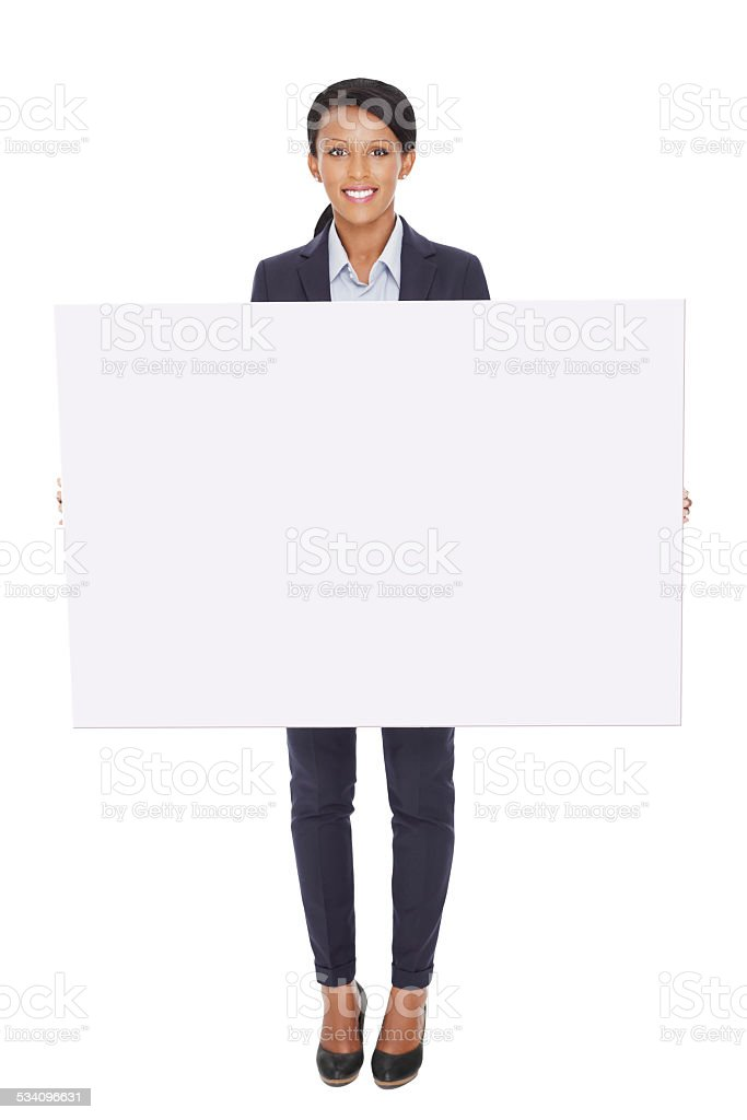 Business woman with blank placard. stock photo