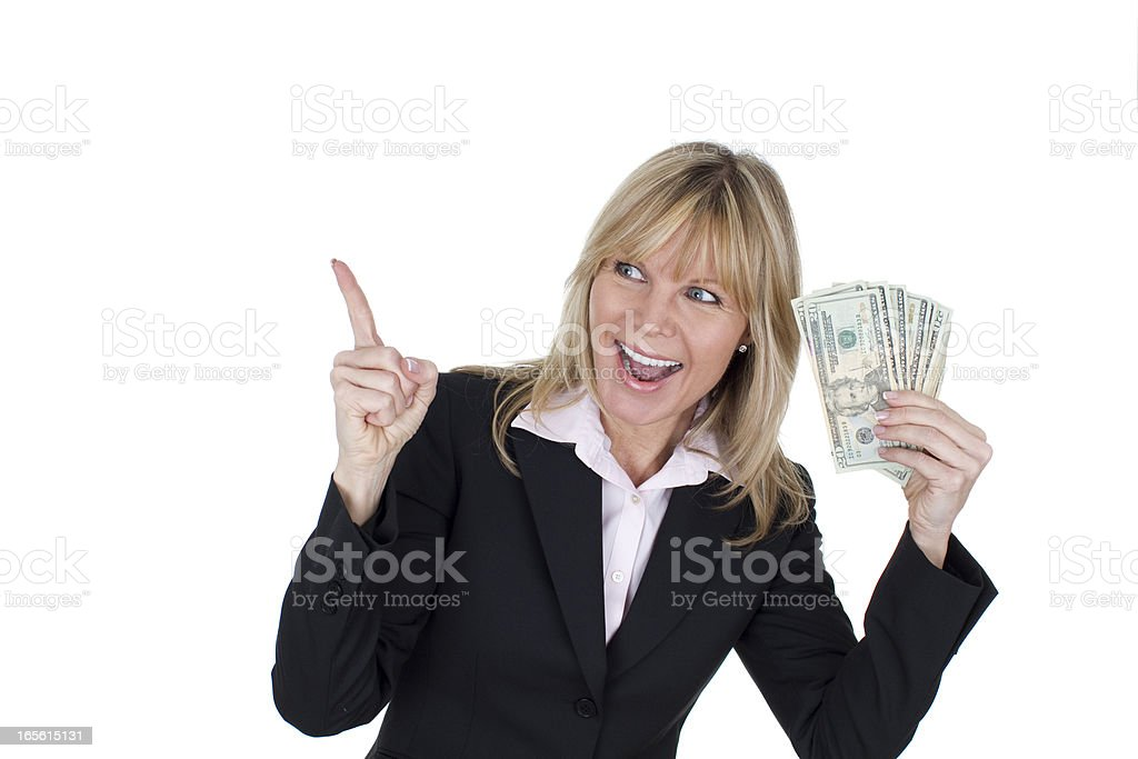 business woman with cash royalty-free stock photo