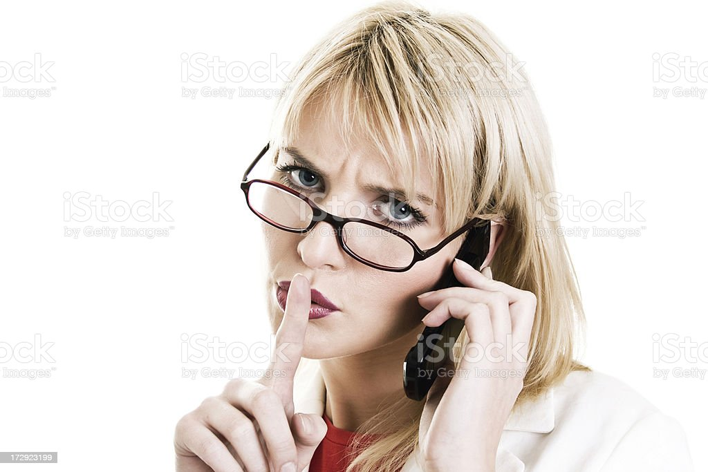 business woman with cell royalty-free stock photo