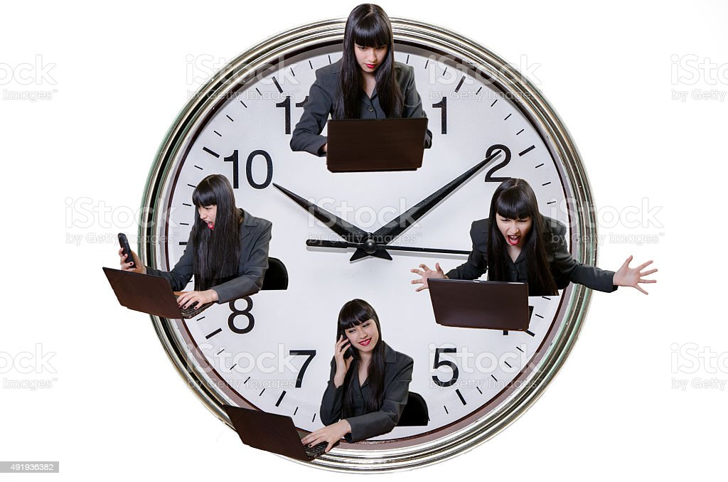 Business woman with changing mood with big clock background stock photo