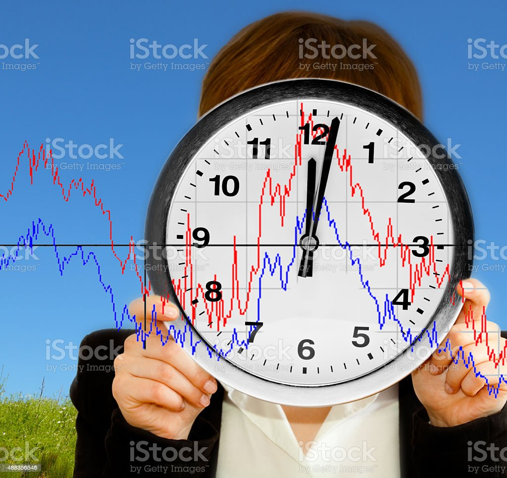 Business woman with clock face and chart stock photo