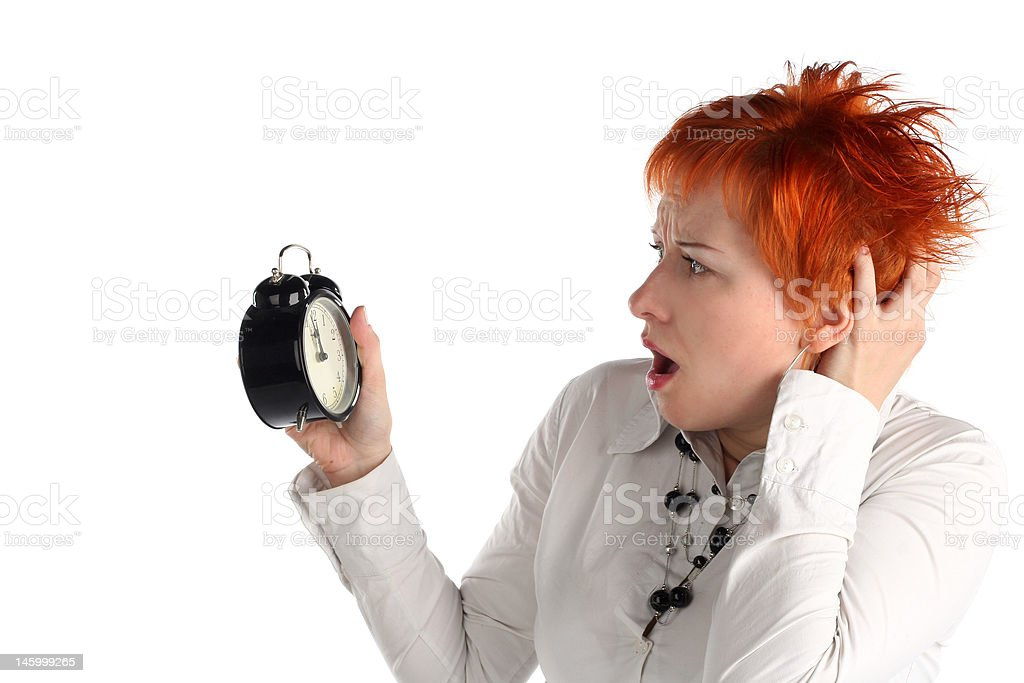 Business woman with colck. Time is over! Deadline concept royalty-free stock photo
