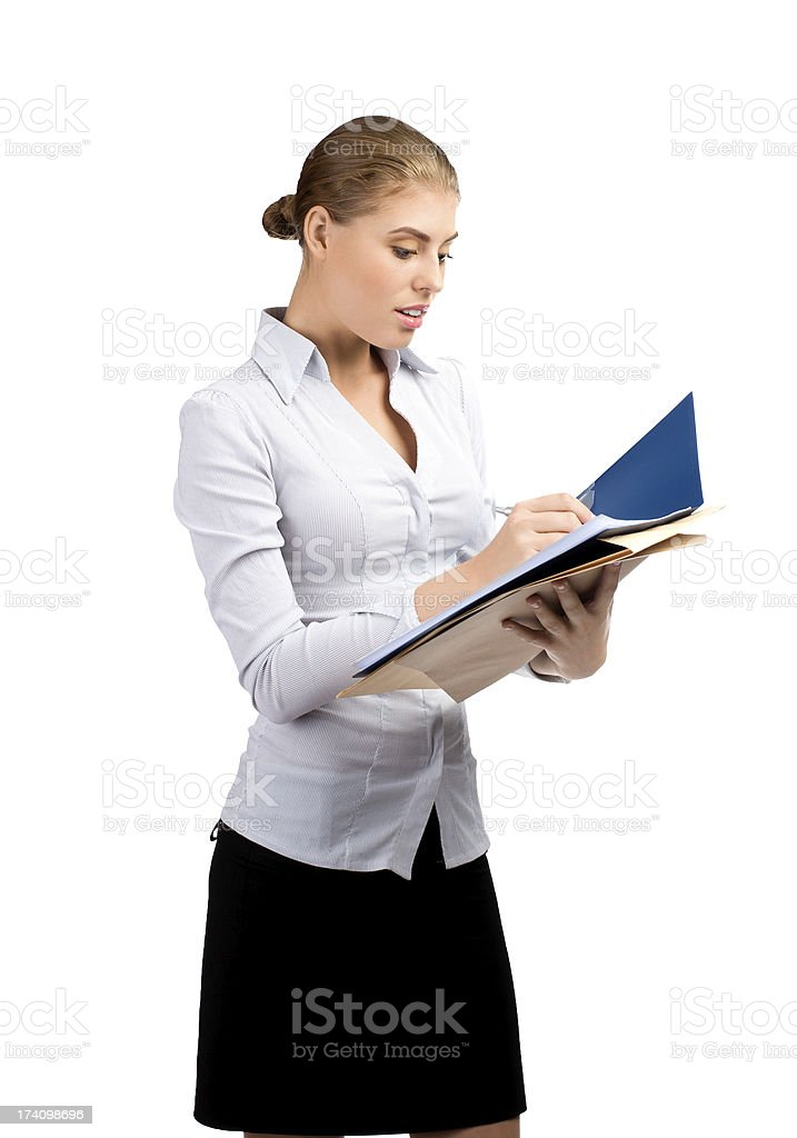 Business woman with documents royalty-free stock photo