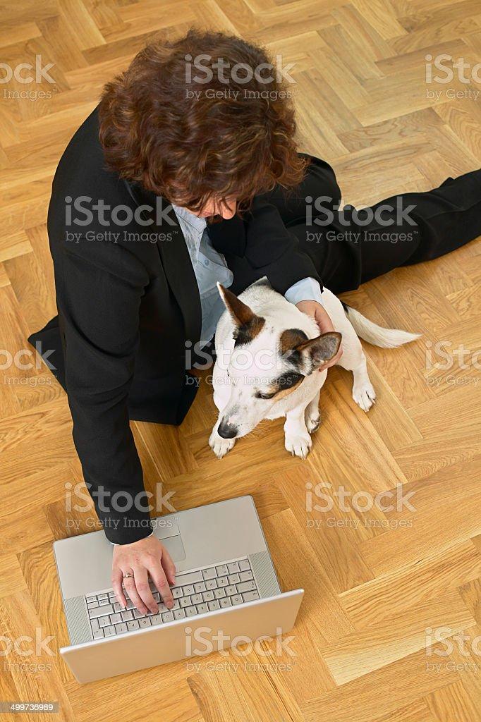 Femme d'affaires avec un chien au travail photo libre de droits