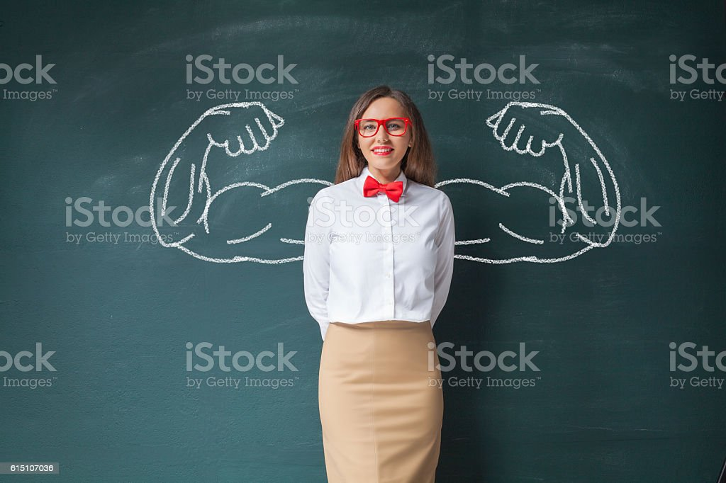 Business woman with drawn powerful hands stock photo
