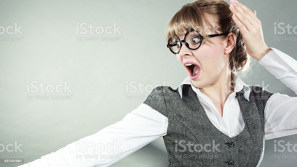 business woman with fear expression stock photo