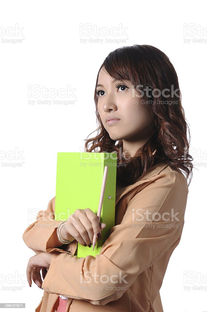 Business woman with Green folder stock photo