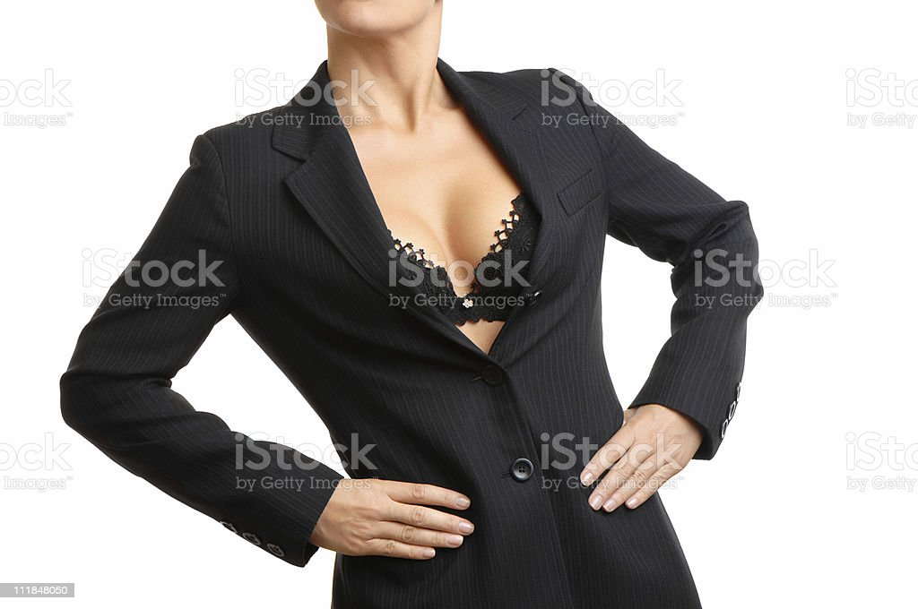Business Woman with Hands on Hips Cleavage White Background royalty-free stock photo