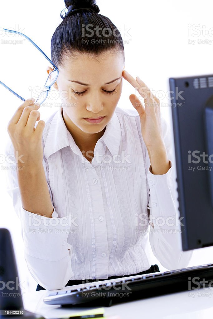 Business woman with headache royalty-free stock photo
