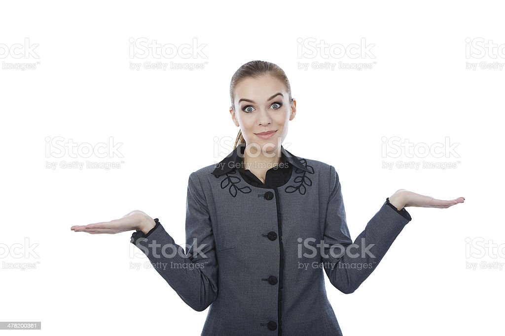 Business woman with her both empty palms extended royalty-free stock photo