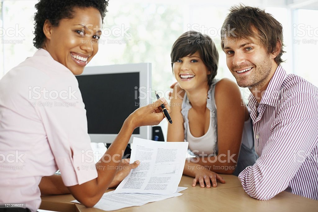 Business woman with her clients royalty-free stock photo