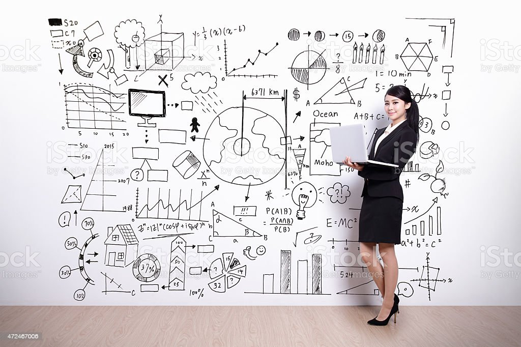 Business Woman with infographic concept stock photo