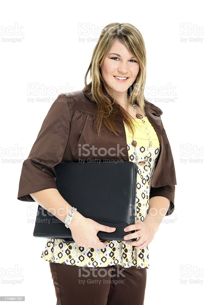 business woman with leather folder royalty-free stock photo
