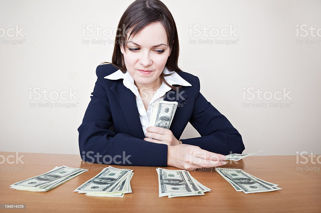 business woman with money stock photo