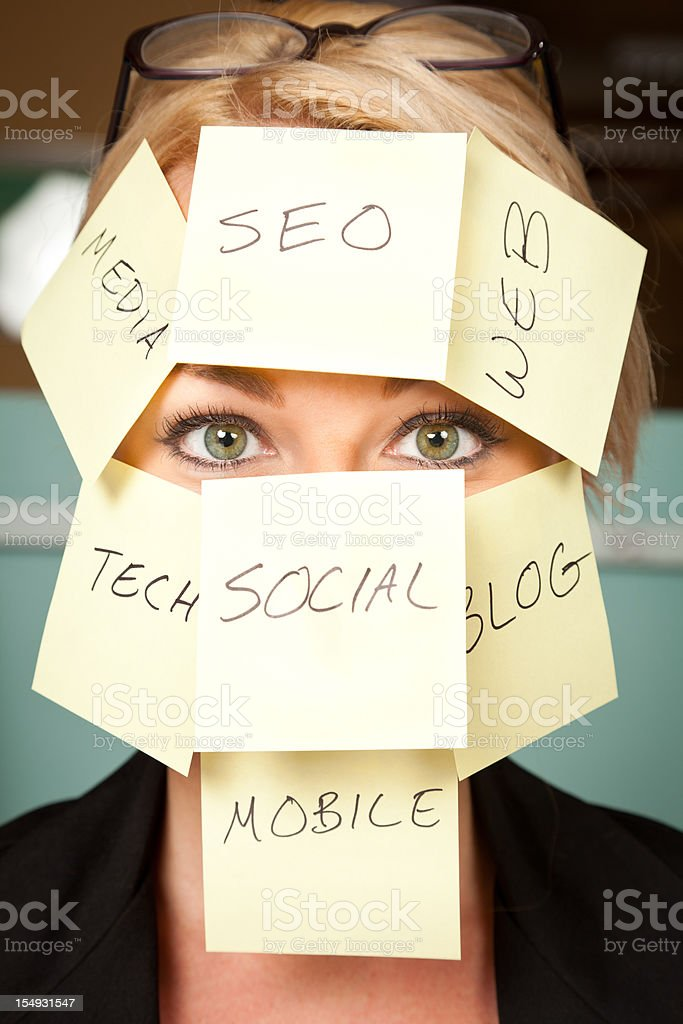 Business Woman With New Technology Notes On Face royalty-free stock photo