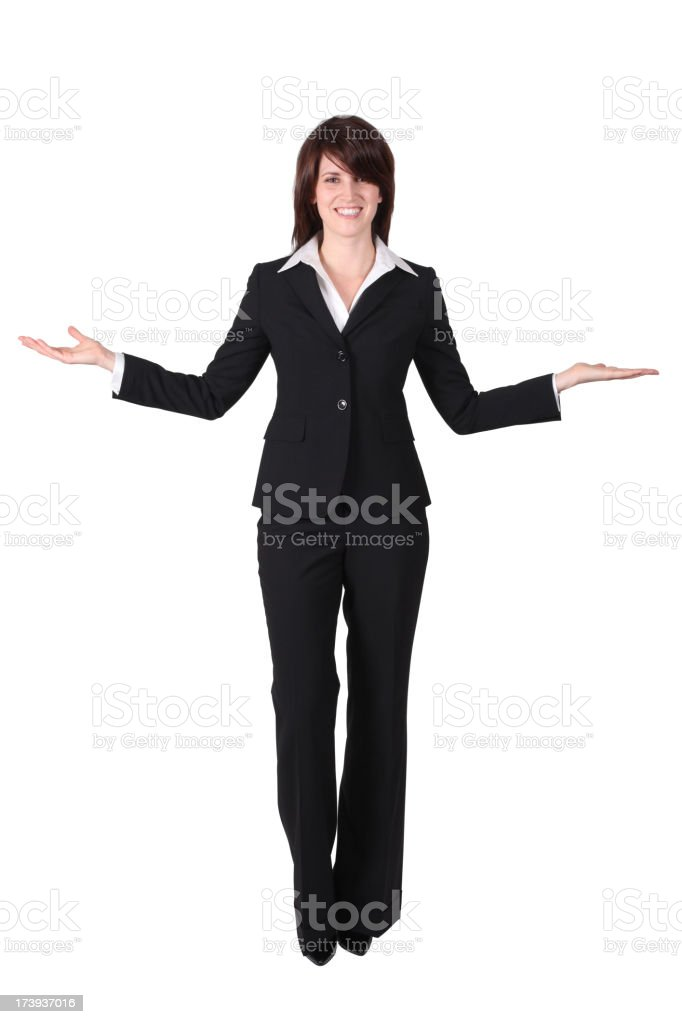 Business woman with outstretched arms stock photo