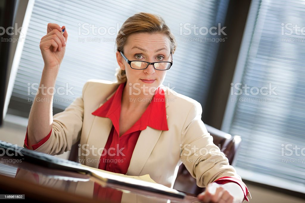 Business Woman With Perturbed Look On Face stock photo
