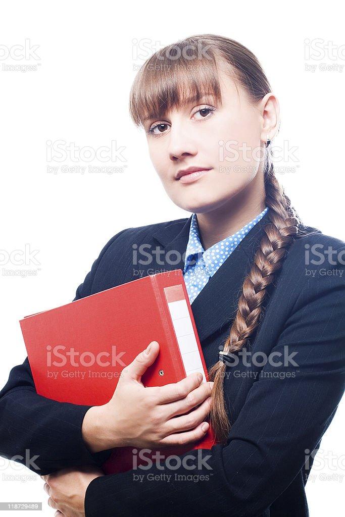 Mujer de negocios con filefolder rojo foto de stock libre de derechos