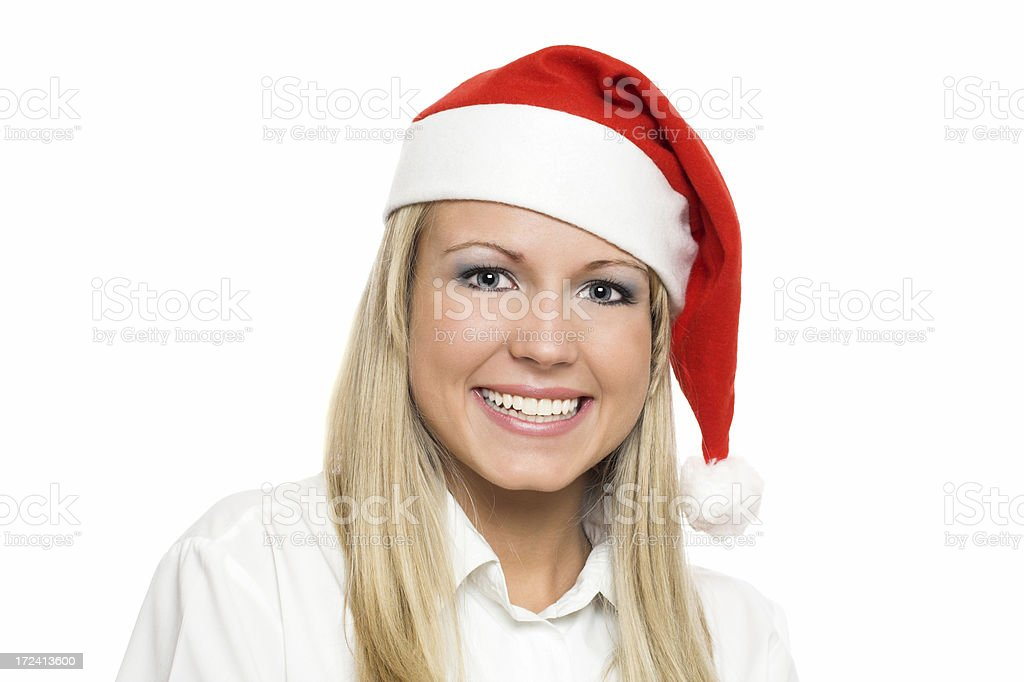 Business woman with Santa's cap royalty-free stock photo