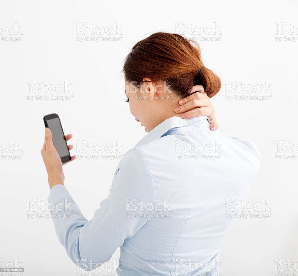 business Woman with shoulder and neck pain stock photo