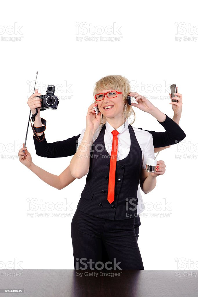 business woman with six arms royalty-free stock photo