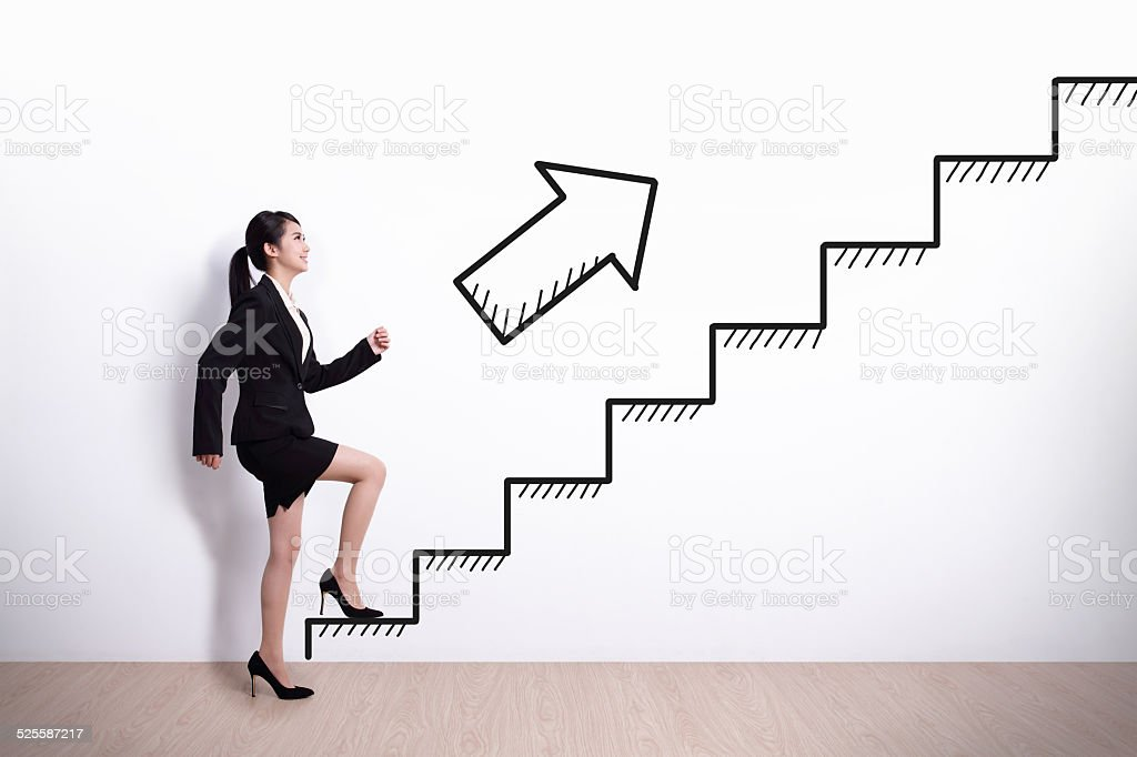 business woman with stair stock photo