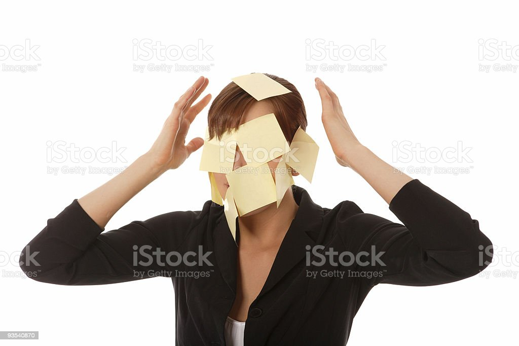 Business woman with sticky notes on her face royalty-free stock photo